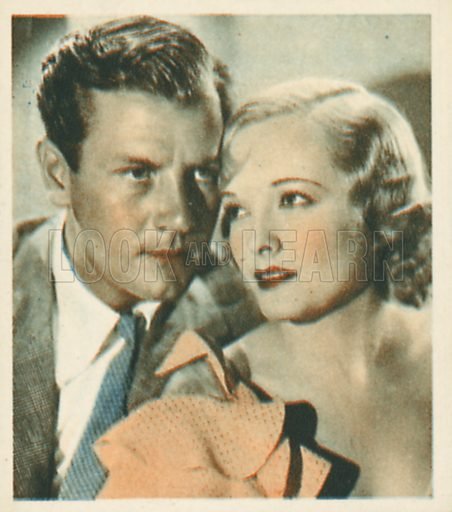 Joel McCrea and Marian Nixon.  Shots from the Films.  Early 20th century cigarette card by Godfrey Phillips.