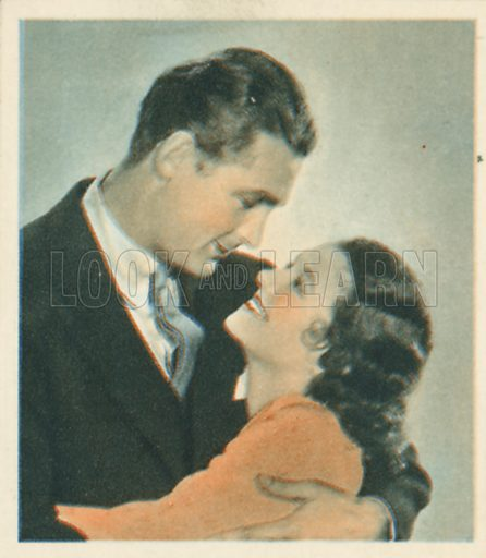 Charles Farrell and Janet Gaynor. Shots from the Films.  Early 20th century cigarette card by Godfrey Phillips.