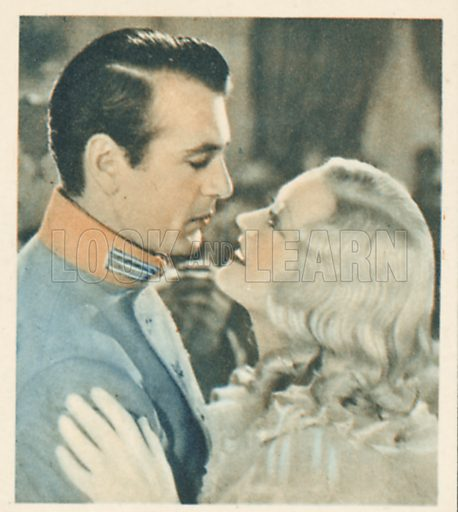 Marion Davies and Gary Cooper. Shots from the Films.  Early 20th century cigarette card by Godfrey Phillips.
