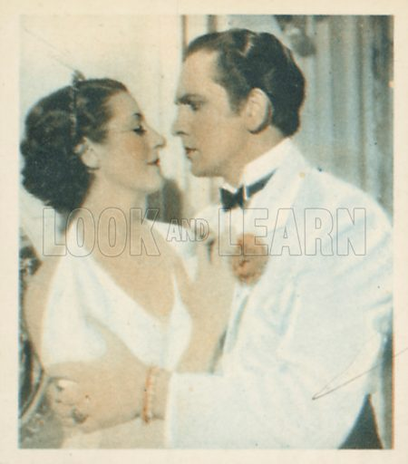 Fredric March and Evelyn Venable. Shots from the Films.  Early 20th century cigarette card by Godfrey Phillips.