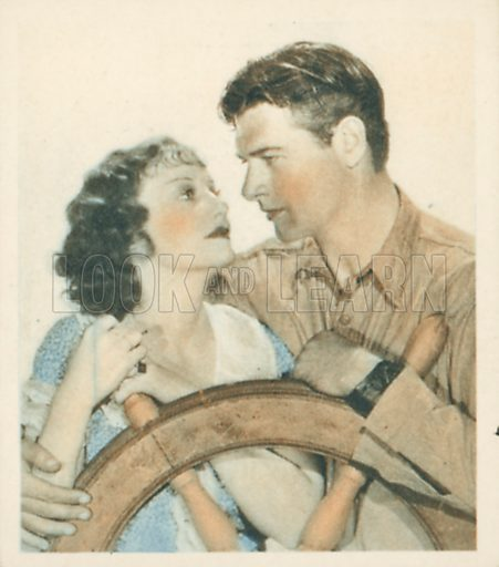 Richard Arlen and Judith Allen. Shots from the Films.  Early 20th century cigarette card by Godfrey Phillips.