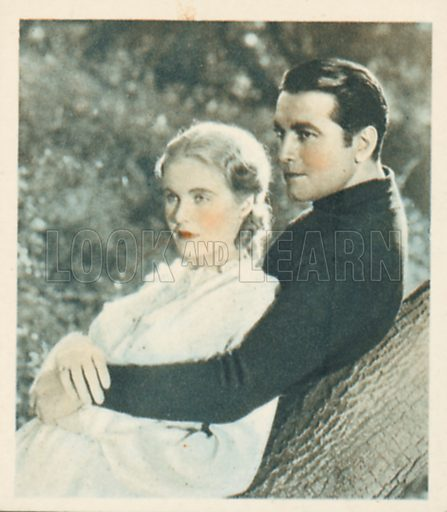 Richard Barthelmess and Jean Muir. Shots from the Films.  Early 20th century cigarette card by Godfrey Phillips.