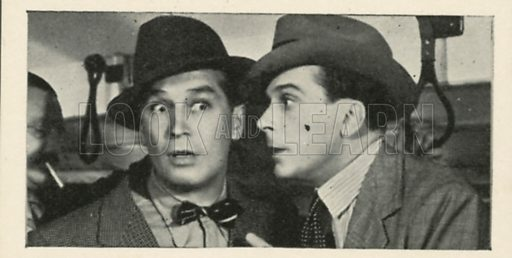 Jack Buchanan and Maurice Chevalier in Break the News. Scenes from the films.  Issued by R & J Hill. Early 20th century card.