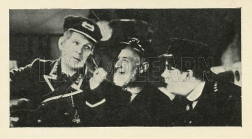 Will Hay, Moore Marriott and Graham Moffatt in Oh Mr Porter. Scenes from the films.  Issued by R & J Hill. Early 20th century card.