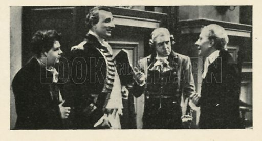 George Arliss, Roy Emerton, Graham Moffatt, Athlone Stewart in Dr Syn. Scenes from the films.  Issued by R & J Hill. Early 20th century card.