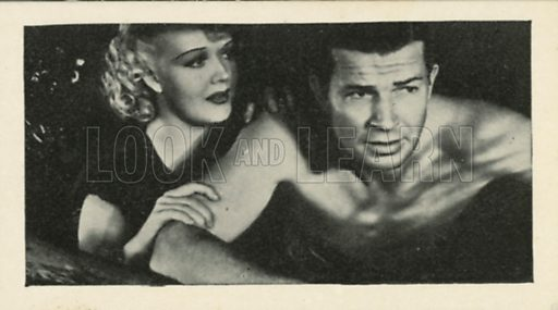 Marion Martin and Bruce Cabot in Sinners in Paradise. Scenes from the films.  Issued by R & J Hill. Early 20th century card.