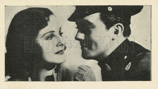 Constance Moore and John King in State Police. Scenes from the films.  Issued by R & J Hill. Early 20th century card.