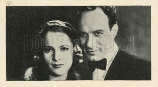 Vic Oliver and Irene Ware in Around the Town. Scenes from the films.  Issued by R & J Hill. Early 20th century card.