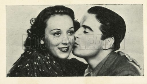 Phil Regan and Ann Dvorak in Manhattan Music Box. Scenes from the films.  Issued by R & J Hill. Early 20th century card.