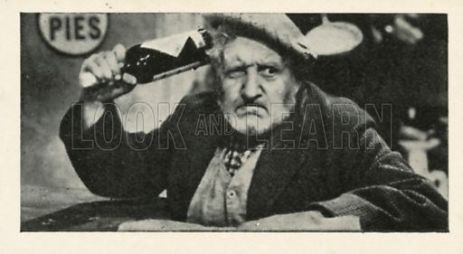 Will Fyffe in Owd Bob. Scenes from the films.  Issued by R & J Hill. Early 20th century card.