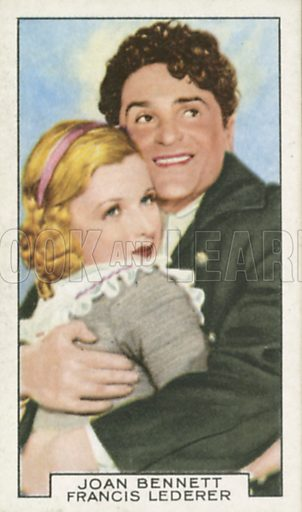 Joan Bennett and Francis Lederer in The Pursuit of Happiness. Film partners.  Gallaher cigarette card, early 20th century.