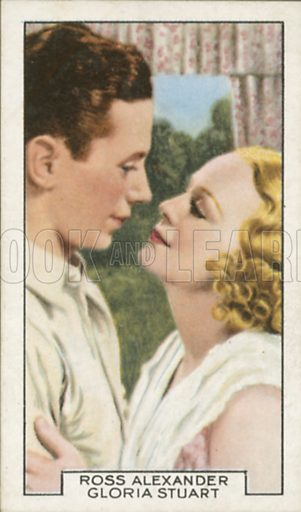 Ross Alexander and Gloria Stuart in Maybe It's Love. Film partners.  Gallaher cigarette card, early 20th century.
