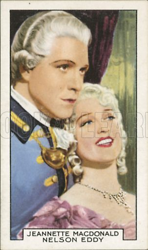 Jeannette MacDonald and Nelson Eddy in Naughty Marietta. Film partners.  Gallaher cigarette card, early 20th century.