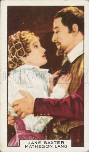 Jane Baxter and Matheson Lang in Drake of England. Film partners.  Gallaher cigarette card, early 20th century.