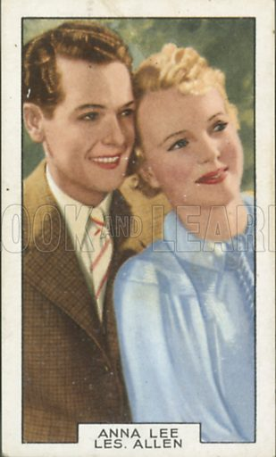 Anna Lee and Les Allen in Heat Wave. Film partners.  Gallaher cigarette card, early 20th century.
