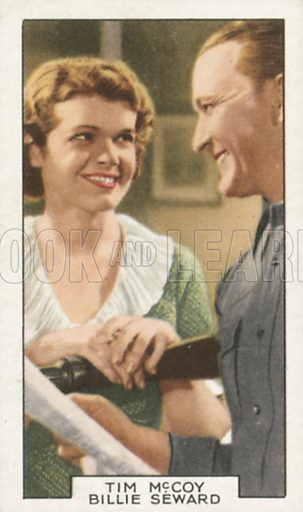 Tim McCoy and Billie Seward in Law Beyond the Range. Film partners.  Gallaher cigarette card, early 20th century.
