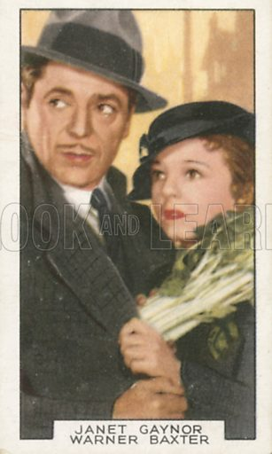 Janet Gaynor and Warner Baxter in One More Spring. Film partners.  Gallaher cigarette card, early 20th century.
