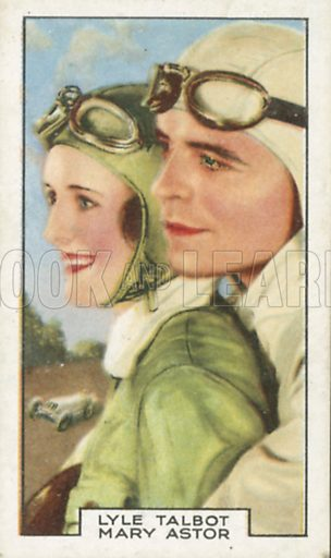 Lyle Talbot and Mary Astor in Racing Luck. Film partners.  Gallaher cigarette card, early 20th century.