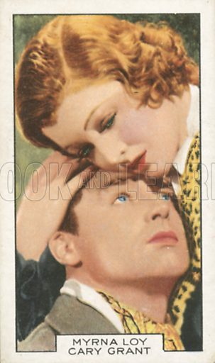 Myrna Loy and Cary Grant in Wings in the Dark. Film partners.  Gallaher cigarette card, early 20th century.