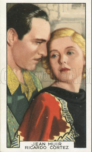 Jean Muir and Ricardo Cortez in The White Cockatoo. Film partners.  Gallaher cigarette card, early 20th century.