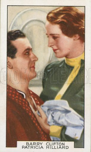 Barry Clifton and Patricia Hilliard in The Girl in the Crowd. Film partners. Gallaher cigarette card, early 20th century.