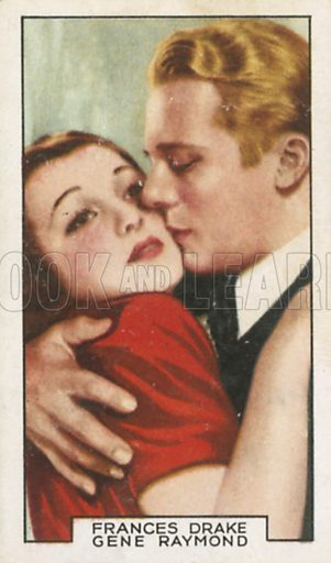 Frances Drake and Gene Raymond in False Witness. Film partners.  Gallaher cigarette card, early 20th century.