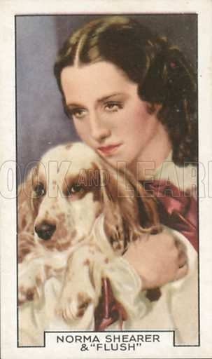 Norma Shearer and 'Flush' in The Barretts of Wimpole Street. Film partners.  Gallaher cigarette card, early 20th century.