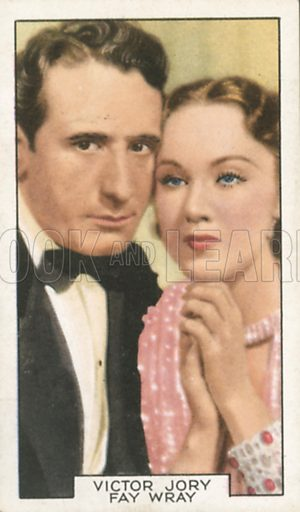 Victor Jory and Fay Wray in White Lies. Film partners.  Gallaher cigarette card, early 20th century.