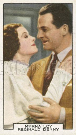 Myrna Loy and Reginald Denny in A Night in Cairo. Film partners.  Gallaher cigarette card, early 20th century.