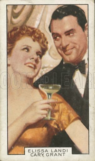 Elissa Landi and Cary Grant in Enter Madame. Film partners.  Gallaher cigarette card, early 20th century.