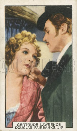 Gertrude Lawrence and Douglas Fairbanks Jnr in Mimi. Film partners.  Gallaher cigarette card, early 20th century.