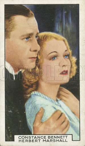 Constance Bennett and Herbert Marshall in A Woman of the World. Film partners.  Gallaher cigarette card, early 20th century.