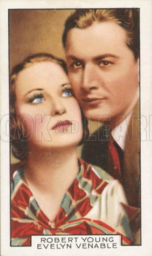 Robert Young and Evelyn Venable in Vagabond Lady. Film partners.  Gallaher cigarette card, early 20th century.