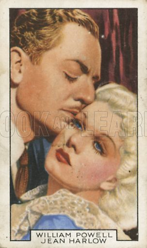 William Powell and Jean Harlow in Reckless. Film partners.  Gallaher cigarette card, early 20th century.
