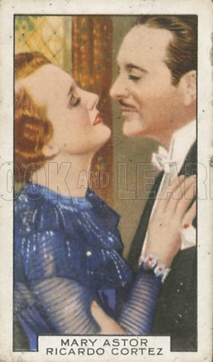 Mary Astor and Ricardo Cortez in I am a Thief. Film partners.  Gallaher cigarette card, early 20th century.