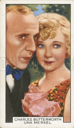 Charles Butterworth and Una Merkel in Baby-Face Harrington. Film partners.  Gallaher cigarette card, early 20th century.