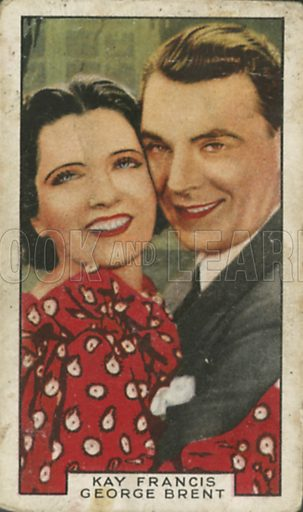 Kay Francis and George Brent in Living on Velvet. Film partners.  Gallaher cigarette card, early 20th century.