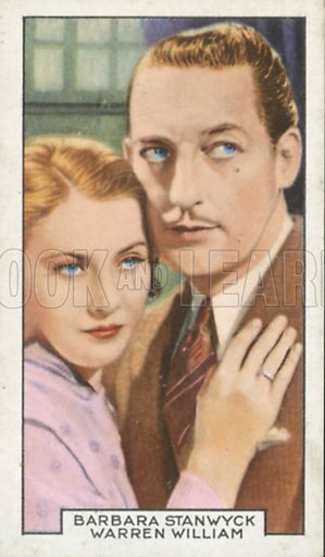 Barbara Stanwyck and Warren William in Concealment. Film partners.  Gallaher cigarette card, early 20th century.