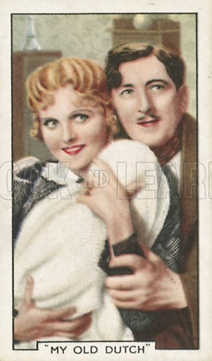 Betty Balfour and Michael Hogan in My Old Dutch. Shots from famous films.  Gallaher cigarette cards, early 20th century.