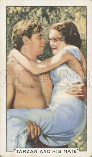 Johnny Weissmuller and Maureen O'Sullivan in Tarzan and His Mate. Shots from famous films.  Gallaher cigarette cards, early 20th century.