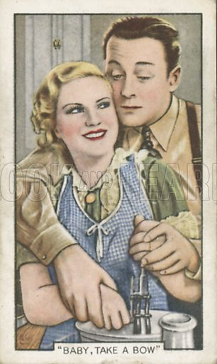 Claire Trevor and James Dunn in Baby, Take a Bow. Shots from famous films.  Gallaher cigarette cards, early 20th century.
