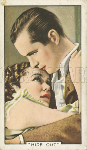 Maureen O'Sullivan and Robert Montgomery in Hideout. Shots from famous films.  Gallaher cigarette cards, early 20th century.