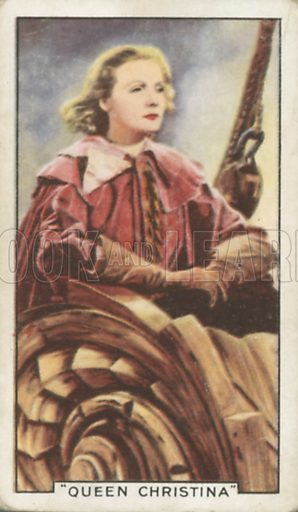 Greta Garbo in Queen Christina. Shots from famous films.  Gallaher cigarette cards, early 20th century.