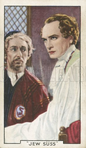 Conrad Veidt and Paul Graetz in Jew Suss. Shots from famous films.  Gallaher cigarette cards, early 20th century.