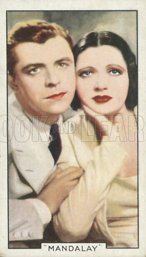 Kay Francis and Lyle Talbot in Mandalay. Shots from famous films.  Gallaher cigarette cards, early 20th century.