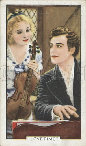 Pat Paterson and Nils Asther in Lovetime. Shots from famous films.  Gallaher cigarette cards, early 20th century.