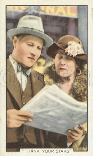 Jack Oakie and Alison Skipworth in Thank Your Stars. Shots from famous films.  Gallaher cigarette cards, early 20th century.