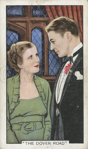 Diana Wynyard and Clive Brook in The Dover Road. Shots from famous films.  Gallaher cigarette cards, early 20th century.