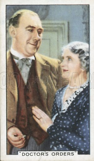 Leslie Fuller and Mary Jerrold in Doctor's Orders. Shots from famous films.  Gallaher cigarette cards, early 20th century.
