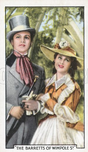 Norma Shearer and Frederic March in The Barretts of Wimpole Street. Shots from famous films.  Gallaher cigarette cards, early 20th century.
